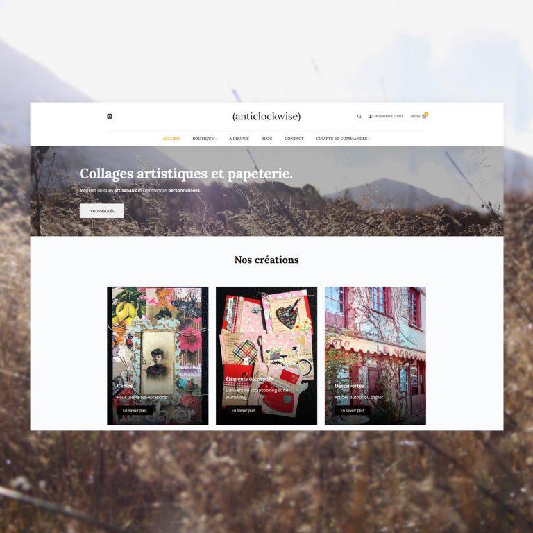 Création d'une Boutique e-commerce, (anticlockwise) – Collages Artistiques Et Papeterie.